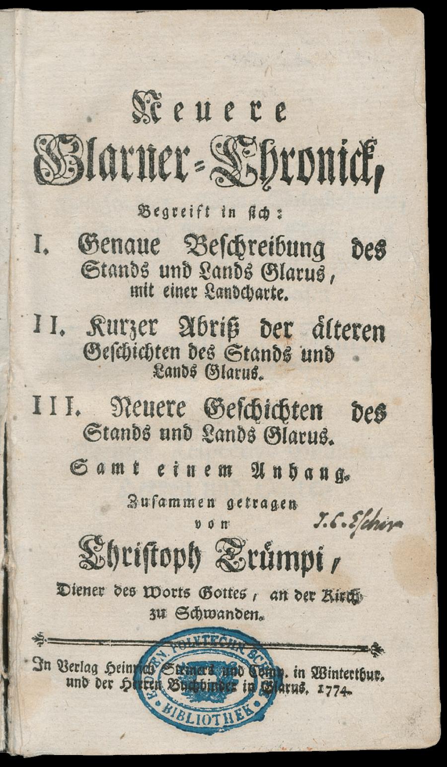 1764_1774_TrÅmpi_Glarner-Chronick_Titel